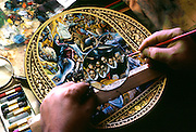 SPAIN, TOLEDO Damascene craftsman traditional gold and silver inlay