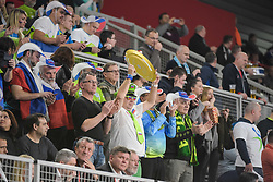 Fans of Slovenia during handball match between National teams of Slovenia and Spain on Day 6 in Main Round of Men's EHF EURO 2018, on January 23, 2018 in Arena Varazdin, Varazdin, Croatia. Photo by Mario Horvat / Sportida