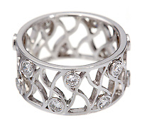silver webbed ring with diamonds
