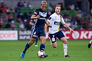 MELBOURNE, AUSTRALIA - APRIL 14: Keisuke Honda (4) of the Victory controls the ball downfield during round 25 of the Hyundai A-League match between Melbourne Victory and Central Coast Mariners on April 14, 2019 at AAMI Park in Melbourne, Australia. (Photo by Speed Media/Icon Sportswire)