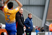 Morecambe's manager Jim Bentley during the EFL Sky Bet League 2 match between Morecambe and Mansfield Town at the Globe Arena, Morecambe, England on 27 January 2018. Photo by Paul Thompson.