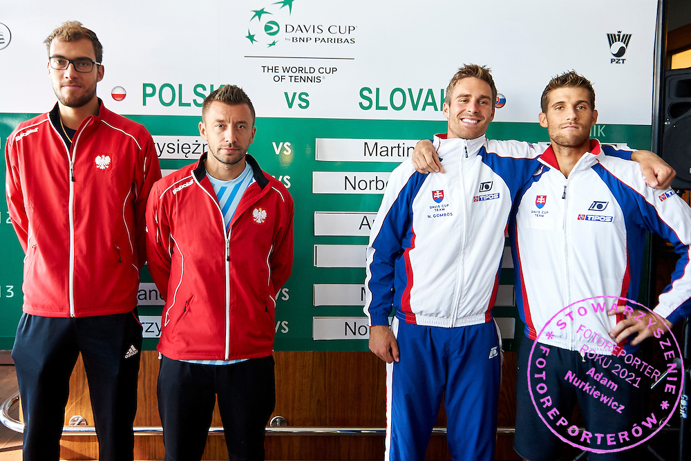 (L-R) Jerzy Janowicz and Michal Przysiezny both from Poland and Norbert Gombos and Martin Klizan both of Slovakia during official draw one day before Davis Cup Tie World Group Play-off Poland v Slovakia at Mondo di Vinegre Restaurant in Gdynia, Poland.<br /> <br /> Poland, Gdynia, September 17, 2015<br /> <br /> Picture also available in RAW (NEF) or TIFF format on special request.<br /> <br /> For editorial use only. Any commercial or promotional use requires permission.<br /> <br /> Adam Nurkiewicz declares that he has no rights to the image of people at the photographs of his authorship.<br /> <br /> Mandatory credit:<br /> Photo by &copy; Adam Nurkiewicz / Mediasport