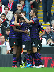 02.09.2012, Anfield, Liverpool, ENG, Premier League, FC Liverpool vs FC Arsenal, 2. Runde, im Bild Arsenal's Lukas Podolski celebrates scoring the first goal against Liverpool during the English Premier League 2nd round match between Liverpool FC and Arsenal FC at Anfield, Liverpool, Great Britain on 2012/09/02. EXPA Pictures © 2012, PhotoCredit: EXPA/ Propagandaphoto/ David Rawcliff..***** ATTENTION - OUT OF ENG, GBR, UK *****