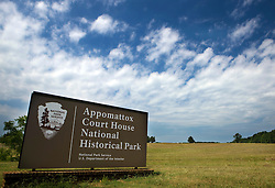National Park Service welcome sign, Appomattox Court House National Historical Park, Appomattox, Virginia.