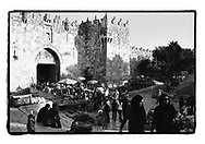 A view on Damascus gate, the East Jerusalem entrance to the Old City of Jerusalem. East Jerusalem is mostly arab and considered the future capitol of a Palestinian state.