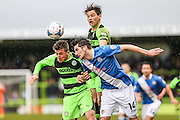Eastleigh's Ben Strevens and Forest Green's Elliott Frear battle for the ball during the Vanarama National League match between Forest Green Rovers and Eastleigh at the New Lawn, Forest Green, United Kingdom on 20 February 2016. Photo by Shane Healey.
