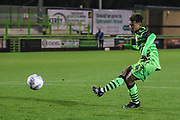 Forest Green Rovers Vaughn Covil(41)  takes a penalty and scores during the Leasing.com EFL Trophy match between Forest Green Rovers and Coventry City at the New Lawn, Forest Green, United Kingdom on 8 October 2019.