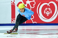 Graz, Austria - 2017 March 22: Apolo Ohno (Special Olympics Global Ambassador - a retired American short track speed skating competitor and an eight-time medalist in the Winter Olympics - two gold, two silver, four bronze) performances during Speed Skating Unified Sports Experiences while Special Olympics World Winter Games Austria 2017 at Icestadium Graz Liebenau on March 22, 2017 in Graz, Austria.<br /> <br /> Mandatory credit:<br /> Photo by © Adam Nurkiewicz / Mediasport<br /> <br /> Adam Nurkiewicz declares that he has no rights to the image of people at the photographs of his authorship.<br /> <br /> Picture also available in RAW (NEF) or TIFF format on special request.<br /> <br /> Any editorial, commercial or promotional use requires written permission from the author of image.<br /> <br /> Image can be used in the press when the method of use and the signature does not hurt people on the picture.