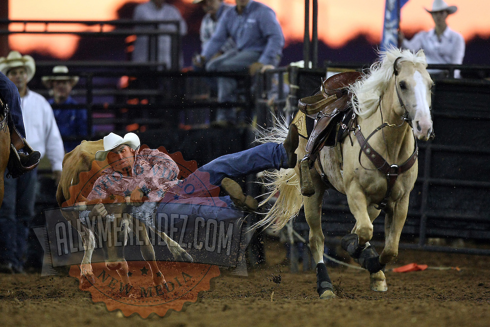 Kamry Dymek steer wrestles  during the 129th performance of the PRCA Silver Spurs Rodeo at the Silver Spurs Arena   on Friday, June 1, 2012 in Kissimmee, Florida. (AP Photo/Alex Menendez) Silver Spurs rodeo action in Kissimee, Florida. PRCA rodeo event in Florida. The 129th annual running of the cowboy event.