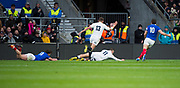 Twickenham, United Kingdom. 7th February, Jonny MAY with the first try of the game in the South West corner. England vs France, 2019 Guinness Six Nations Rugby Match   played at  the  RFU Stadium, Twickenham, England, <br /> &copy; PeterSPURRIER: Intersport Images