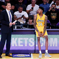 26 October 2016: Los Angeles Lakers forward Brandon Ingram (14) is seen next to Los Angeles Lakers head coach Luke Walton during the Los Angeles Lakers 120-114 victory over the Houston Rockets, at the Staples Center, Los Angeles, California, USA.