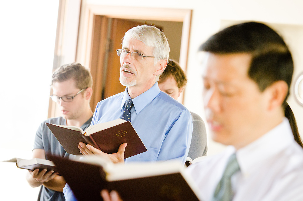Dr. Peter Senkbeil, Professor of Theatre<br /> and Associate Provost, sings a hymn during chapel service in Good Shepherd Chapel at Concordia University Irvine on Wednesday, July 9, 2014, in Irvine, Calif. LCMS Communications/Erik M. Lunsford