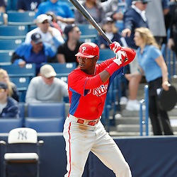 March 4, 2012; Tampa Bay, FL, USA; Philadelphia Phillies right fielder Domonic Brown (9) against the New York Yankees during spring training game at George M. Steinbrenner Field. Mandatory Credit: Derick E. Hingle-US PRESSWIRE