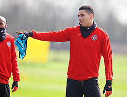MANCHESTER, ENGLAND - Wednesday, March 16, 2016: Manchester United's Chris Smalling during a training session at Carrington Training Ground ahead of the UEFA Europa League Round of 16 2nd Leg match against Liverpool. (Pic by David Rawcliffe/Propaganda)