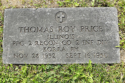 31 August 2017:   Veterans graves in Park Hill Cemetery in eastern McLean County.<br /> <br /> Thomas Roy Price Illinois Private First Class 2 Recon Co 2 INF DIV Korea Purple Heart  Nov 28 1932  Sept 16 1950