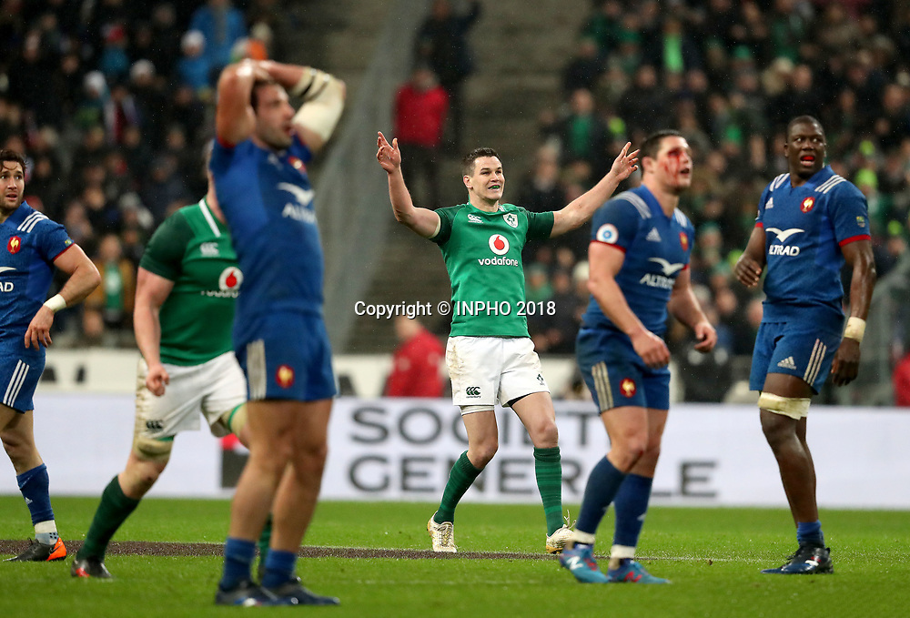NatWest 6 Nations Championship Round 1, Stade de France, Paris, France 3/2/2018<br /> France vs Ireland<br /> Ireland's Johnny Sexton celebrates kicking the winning drop goal<br /> Mandatory Credit &copy;INPHO/Dan Sheridan