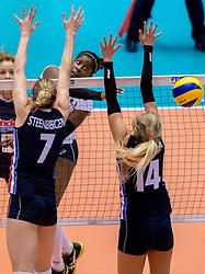 20-05-2016 JAP: OKT Italie - Nederland, Tokio<br /> De Nederlandse volleybalsters hebben een klinkende 3-0 overwinning geboekt op Italië, dat bij het OKT in Japan nog ongeslagen was. Het met veel zelfvertrouwen spelende Oranje zegevierde met 25-21, 25-21 en 25-14 / Miriam Fatime Sylla #16 of Italie, Quinta Steenbergen #7, Laura Dijkema #14