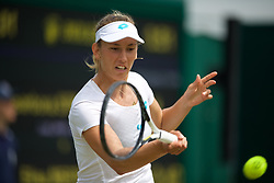 LONDON, ENGLAND - Monday, July 8, 2019: Elise Mertens (BEL) during the Ladies' Singles fourth round match on Day Seven of The Championships Wimbledon 2019 at the All England Lawn Tennis and Croquet Club. (Pic by Kirsten Holst/Propaganda)