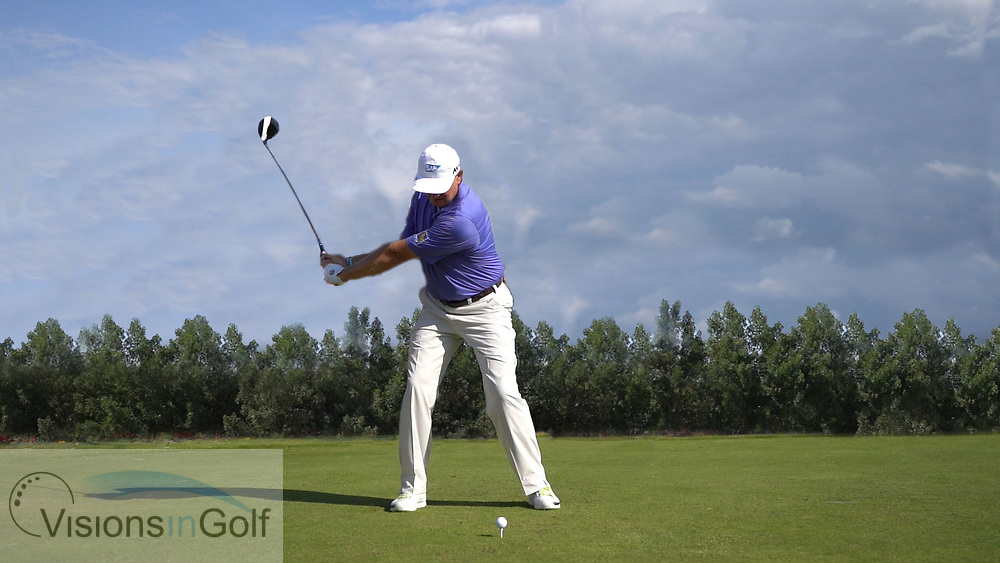 Ernie Els<br /> High speed swing sequence face on<br /> July 2017<br /> <br /> Golf Pictures Credit:  Mark Newcombe / www.visionsingolf.com
