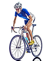 woman triathlon ironman athlete  cyclist cycling on white background