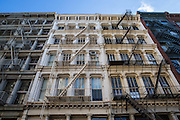Buildings with external fire escapes in SoHo, New York