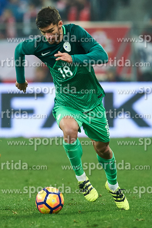 Wroclaw, Poland - 2016 November 14: Rok Kronaveter of Slovenia controls the ball during Poland v Slovenia - International Friendly Soccer Match at Municipal Stadium on November 14, 2016 in Wroclaw, Poland.<br /> <br /> Adam Nurkiewicz declares that he has no rights to the image of people at the photographs of his authorship.<br /> <br /> Picture also available in RAW (NEF) or TIFF format on special request.<br /> <br /> Any editorial, commercial or promotional use requires written permission from the author of image.<br /> <br /> Mandatory credit:<br /> Photo by © Adam Nurkiewicz / Mediasport