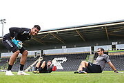 Forest Green Rovers goalkeeper Robert Sanchez(1) and Forest Green Rovers goalkeeper James Montgomery warming up with Forest Green Rovers goalkeeper coach Pat Mountain during the Pre-Season Friendly match between Forest Green Rovers and Bristol Rovers at the New Lawn, Forest Green, United Kingdom on 21 July 2018. Picture by Shane Healey.