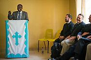 Rev. Dr. Berhanu Ofgaa, general secretary of the Ethiopian Evangelical Church Mekane Yesus, greets the LCMS delegation at Mekane Yesus Seminary on Monday, Nov. 10, 2014 in Addis Ababa, Ethiopia. LCMS Communications/Erik M. Lunsford