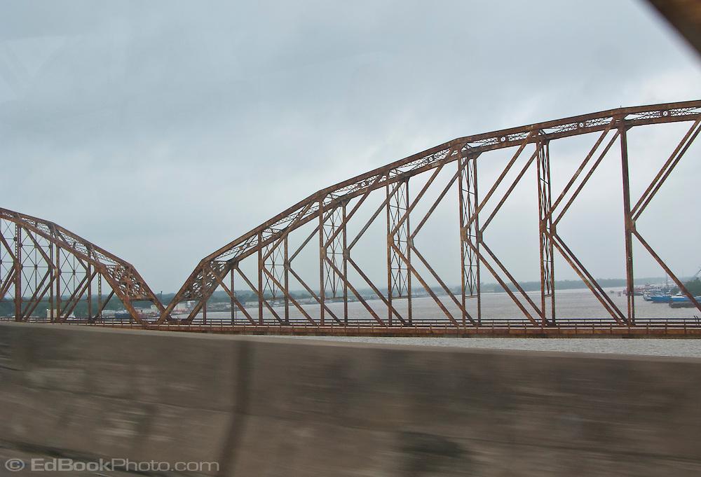 bridges on US 90 and Louisiana route 182 across the Atchafalaya River at Morgan City, Louisiana viewed from US 90