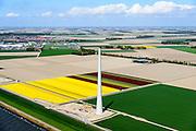 Nederland, Flevoland, Gemeente Noordoostpolder, 07-05-2015; bouw megaturbine aan de kustlijn van de Noordoostpolder, ten zuidoosten van Urk.<br /> Construction mega wind turbine  on the coastline of the Northeast,<br /> <br /> luchtfoto (toeslag op standard tarieven);<br /> aerial photo (additional fee required);<br /> copyright foto/photo Siebe Swart