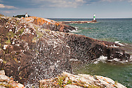 Lake Superior shoreline at Grand Marais Minnesota.