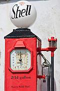 Vintage Shell petrol pump ephemera at St Mawes tourist attraction, Cornwall, England, UK