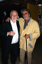 Left to right, artists PETER BLAKE and JUSTIN DE VILLENEUVE at a party to celebrate the opening of an exhibition by Daisy de Villeneuve at the Fashion and Textile Museum, Bermondsey Street, London SE1 on 25th June 2004.