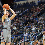 HARTFORD, CONNECTICUT- JANUARY 4: Katie Lou Samuelson #33 of the Connecticut Huskies prepares to shoot watched by Bre McDonald #20 of the East Carolina Lady Pirates during the UConn Huskies Vs East Carolina Pirates, NCAA Women's Basketball game on January 4th, 2017 at the XL Center, Hartford, Connecticut. (Photo by Tim Clayton/Corbis via Getty Images)