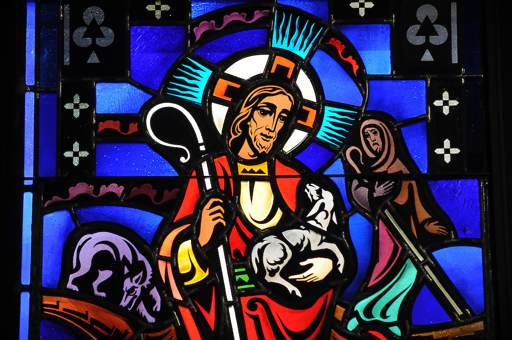 Stained glass of the Good Shepherd inside St. Patrick Church, Menasha, Wis.