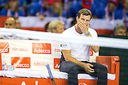Leon Smith, team captain of Great Britain looks on during the Davis Cup Semi Final between Great Britain and Argentina at the Emirates Arena, Glasgow, United Kingdom on 16 September 2016. Photo by Craig Doyle.