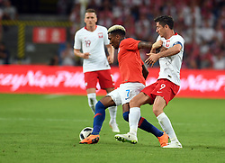 WARSAW, June 9, 2018  Junior Fernandes (L) of Chile vies with Robert Lewandowski of Poland during the international friendly game between Poland and Chile in Warsaw, Poland, on June 8, 2018. (Credit Image: © Maciej Gillert/Xinhua via ZUMA Wire)
