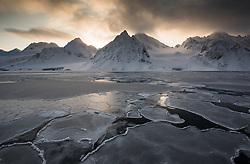 Fuglefjorden in March at the northern tip of Spitsbergen, Svalbard, Norway