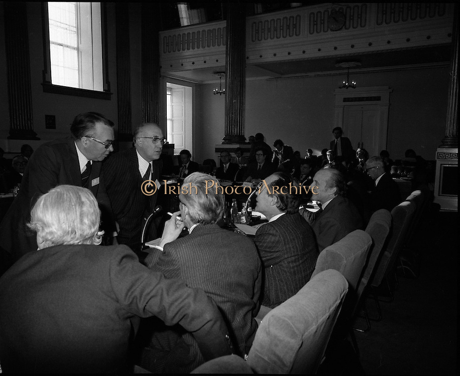 European Foreign Ministers Meet in Dublin.  (J2)..13.02.1975..02.13.1975..13th February 1975..A meeting of European foreign ministers took place in Dublin today. Ireland's representative at the meeting was Dr Garret Fitzgerald, the minister for Foreign Affairs. Other ministers attending the meeting were:.Mr M.Van Eslande...Belgium..Mr M.E. Joergenson...Denmark..Mr M.M.Rumor...Italy..Mr M.Jean Sauvagnargues...France..Mr M.Gaston Thorn...Luxembourg..Mr M.M.Van der Stoel...Holland..Mr Hans-Dietrich Genscher...Germany..Mr Roy Hattersley...Great Britain..and representing the Commission,.Mr. M.Francois-Xavier Ortoli..St Patrick's Hall,Dublin Castle, was the venue chosen for the meeting..Image of the French delegation in final talks before the meeting begins.