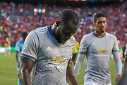 Manchester United Forward Romelu Lukaku leaves the field at half time during the International Champions Cup match between Barcelona and Manchester United at FedEx Field, Landover, United States on 26 July 2017.