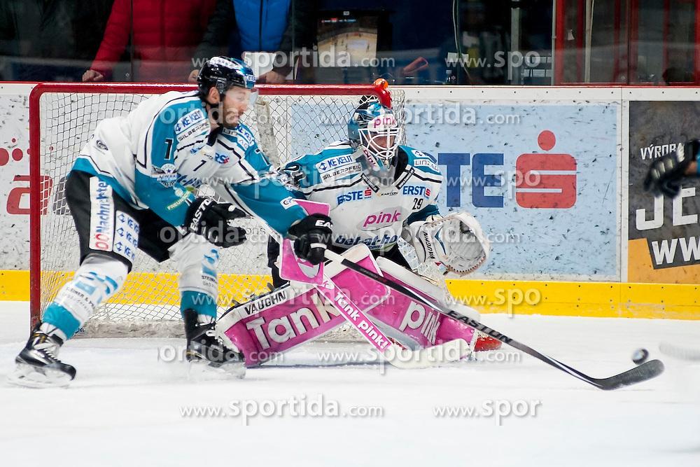22.03.2016, Ice Rink, Znojmo, CZE, EBEL, HC Orli Znojmo vs EHC Liwest Black Wings Linz, Halbfinale, 5. Spiel, im Bild v.l. Bret Palin (Linz), Michael Ouzas (Linz) // during the Erste Bank Icehockey League 5th semifinal match between HC Orli Znojmo and EHC Liwest Black Wings Linz at the Ice Rink in Znojmo, Czech Republic on 2016/03/22. EXPA Pictures © 2016, PhotoCredit: EXPA/ Rostislav Pfeffer