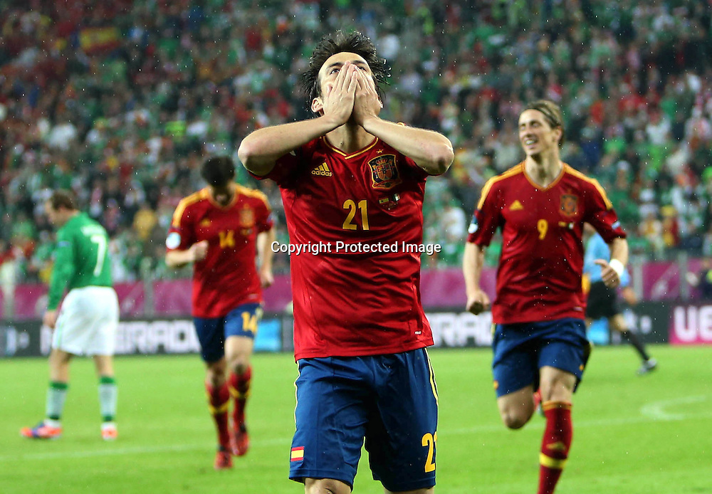 EURO 2012 Group C, Arena Gdansk, Gdansk, Poland 14/6/2012<br /> Republic of Ireland vs Spain<br /> David Silva of Spain celebrates scoring his sides second goal<br /> Mandatory Credit &copy;INPHO/Donall Farmer