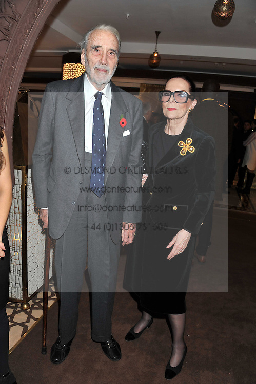 Actor SIR CHRISTOPHER LEE and his wife BIRGIT at the Inspiring Morocco launch held at Harrods, Knightsbridge, London on 3rd November 2011.