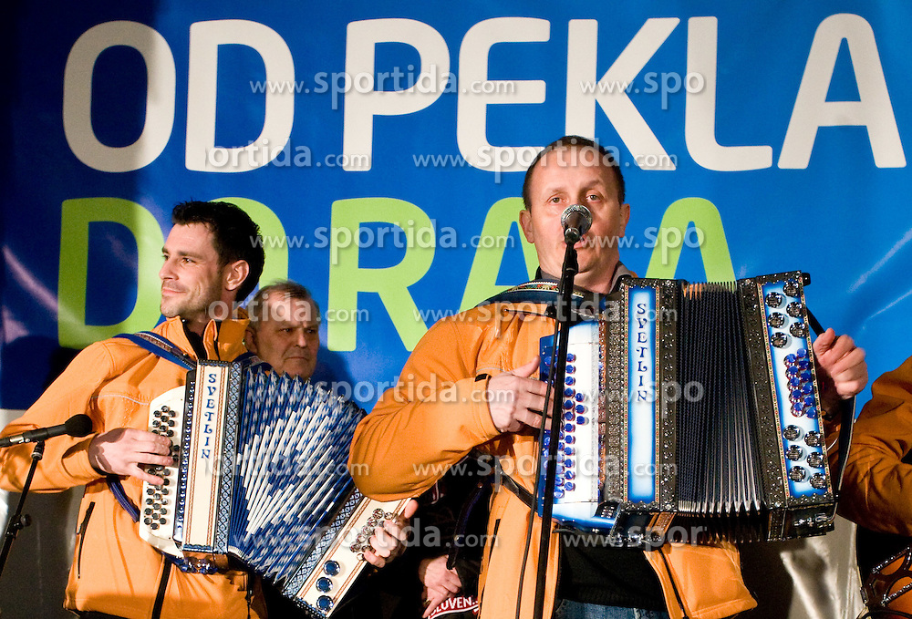 Music group at reception of Slovenian bronze medalist cross-country skier Petra Majdic at her home town Dol pri Ljubljani after she came from Vancouver after Winter Olympic games 2010, on March 1, 2010 in Dol pri Ljubljani, Slovenia. (Photo by Vid Ponikvar / Sportida)