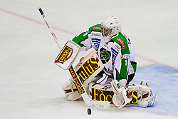 Goalie Jean-Philippe Lamoureux (HDD Tilia Olimpija, #1) during of ice-hockey match between Moser Medical Graz 99ers and HDD Tilia Olimpija in 11th Round of EBEL league, on October 14, 2011 at Eisstadion Graz-Liebenau, Graz, Austria. (Photo By Matic Klansek Velej / Sportida)
