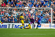 Gillingham FC forward Mikael Ndjoli  (10) scores a goal (1-0)  and turns to celebrate during the EFL Sky Bet League 1 match between Gillingham and Wycombe Wanderers at the MEMS Priestfield Stadium, Gillingham, England on 14 September 2019.