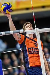 19-02-2017 NED: Bekerfinale Draisma Dynamo - Seesing Personeel Orion, Zwolle<br /> In een uitverkochte Lanstede Topsporthal wordt de eerste bekerfinale gespeeld / Joris Marcelis #5 of Orion