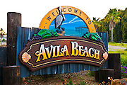 Welcome sign at Avila Beach, California USA