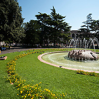 Fountain in Verona near the arena.Verona is a city in Veneton, Northern Italy home to approx. 265,000 inhabitants and one of the seven provincial capitals of the region. Verona has Roman origins and  derived importance from being at the intersection of many roads. It is world famous for the Arena and its Opera....***Agreed Fee's Apply To All Image Use***.Marco Secchi /Xianpix. tel +44 (0) 207 1939846. e-mail ms@msecchi.com .www.marcosecchi.com