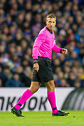 Referee Davide Massa (ITA) during the Group G Europa League match between Rangers FC and FC Porto at Ibrox Stadium, Glasgow, Scotland on 7 November 2019.